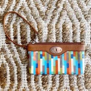 Fossil Coated Canvas Striped Keyper Wristlet